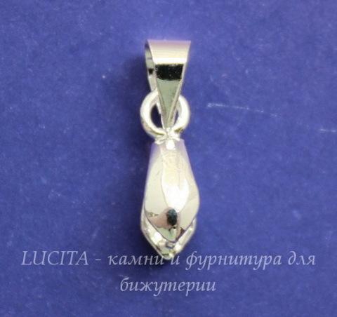 Держатель кулона - петелька 12х7х4 мм (цвет - серебро)