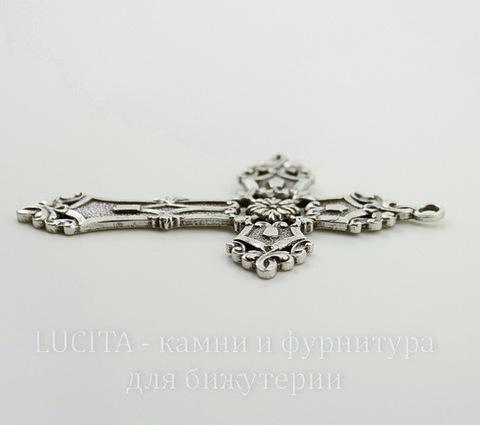 """Винтажный декоративный элемент - подвеска """"Готический крест"""" 59х38 мм (оксид серебра)"""