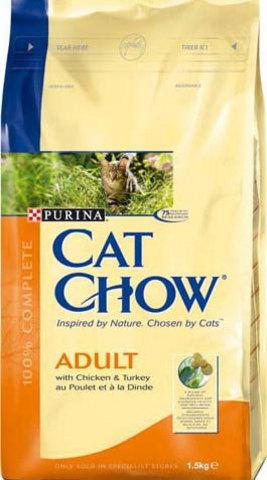 Cat Chow Сухой корм для кошек с индейкой и курицей 400г