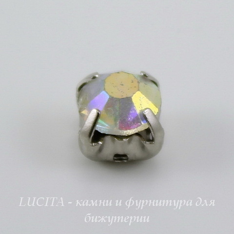 Страз в цапах Crystal AB (цвет - платина) 6х5 мм , 10 шт
