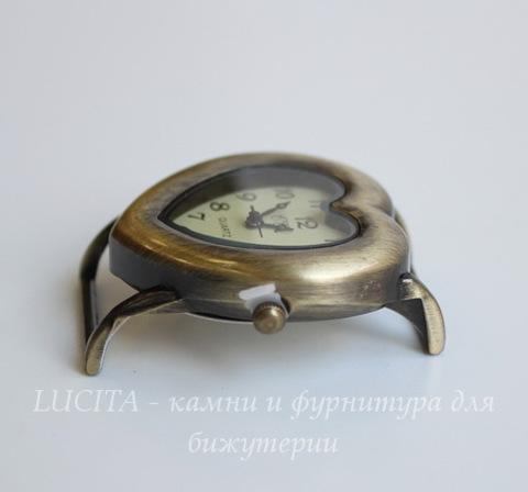 "Основа для часов ""Сердце"" (цвет - античная бронза) 39х34 мм"
