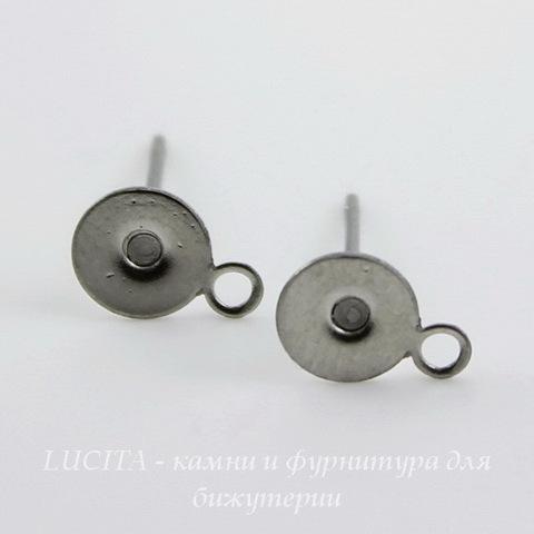 Пуссеты - гвоздики с круглой площадкой 6 мм с петелькой (цвет - античное серебро)(без заглушек)