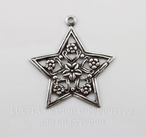 """Винтажный декоративный элемент - подвеска """"Звезда"""" 31х28 мм (оксид серебра)"""