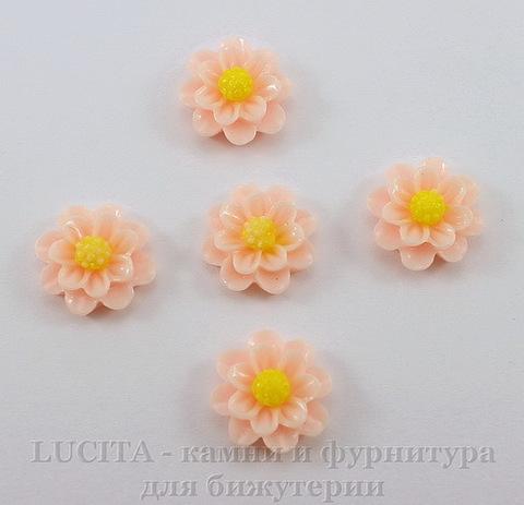 """Кабошон акриловый """"Цветочек"""", цвет - персиковый, 13 мм, 5 штук"""