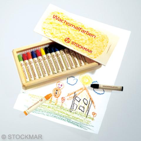 Мелки восковые пальчиковые, 16 цветов, деревянный кофр (Stoсkmar)