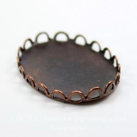 Сеттинг - основа для камеи или кабошона 25х18 мм (оксид меди) ()