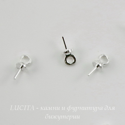 Держатель для бусины 6,5х3 мм (цвет - серебро) , 10 штук