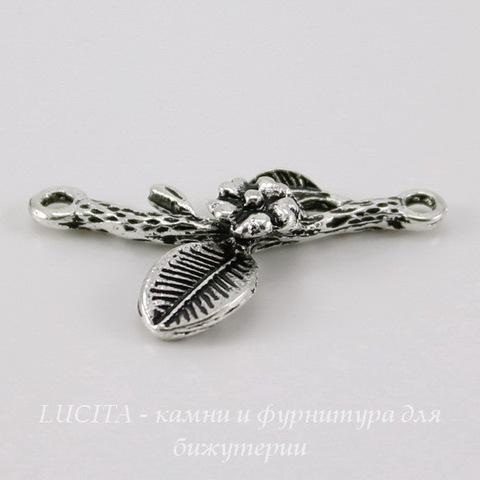 """Коннектор """"Веточка с цветком"""" (1-1) 24х14 мм (цвет - античное серебро)"""
