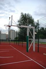 Стойка Г-образная баскетбольная уличная стационарная, вынос 325см. (щит 1800х1050мм. оргстекло 10мм, амортизационное кольцо, сетка)