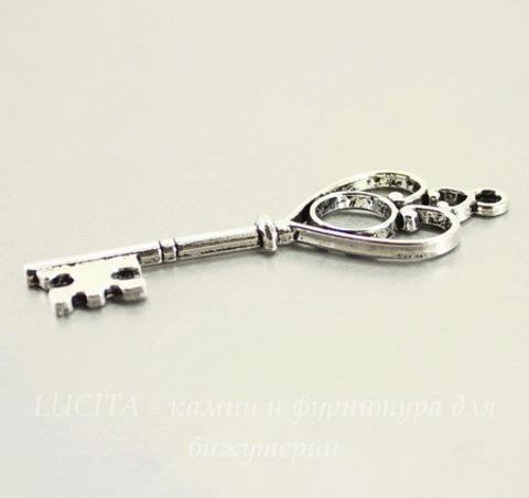 "Подвеска ""Ключ"" (цвет - античное серебро) 63х21 мм"