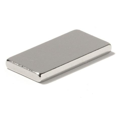 Магнит 20х10х1.5 мм, N38, никель, неодимовый блок