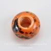 Бусина фарфоровая рондель, цвет - оранжевый с темным рисунком, 15х10 мм
