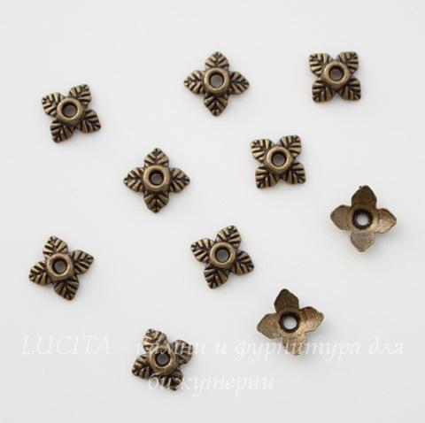"""Шапочка для бусины """"4 листика"""" 6 мм (цвет - античная бронза), 10 штук"""