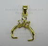 Держатель для кулона со стразами 18х11 мм (цвет - золото) ()