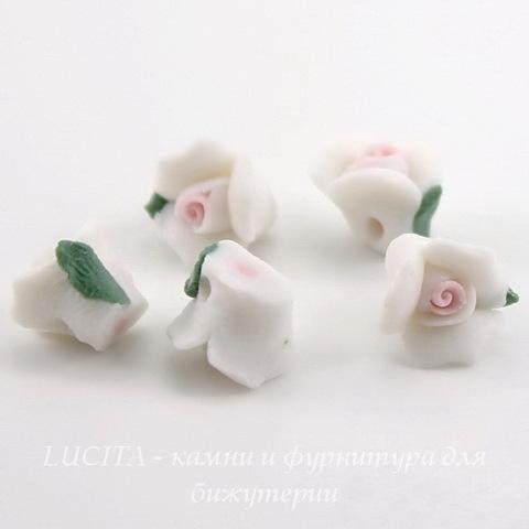 """Бусина фарфоровая ручной работы """"Белый цветочек"""" 9х7 мм, 5 штук"""