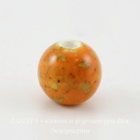 Бусина фарфоровая шарик, цвет - оранжевый с зелеными крапинками, 10 мм