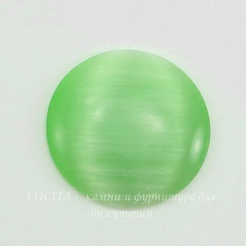 Кабошон Кошачий глаз светло-зеленый (20х4-5 мм)