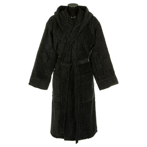 Элитный халат велюровый Logo с капюшоном тёмно-серый от Roberto Cavalli