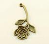 """Подвеска """"Роза"""" (цвет - античная бронза) 34х20 мм"""