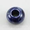 Бусина фарфоровая рондель, цвет - сине-фиолетовый, 15х9 мм