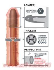 Удлиняющая насадка на пенис FX MEGA 3'''' EXTENSION FLESH (22.8 х 5 см.)