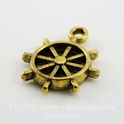 """Подвеска """"Штурвал"""" (цвет - античное золото) 18х15 мм"""