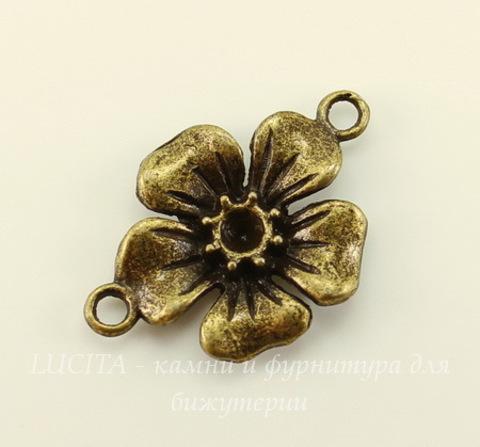 """Коннектор """"Цветок"""" (1-1) (цвет - античная бронза) 27х18 мм"""