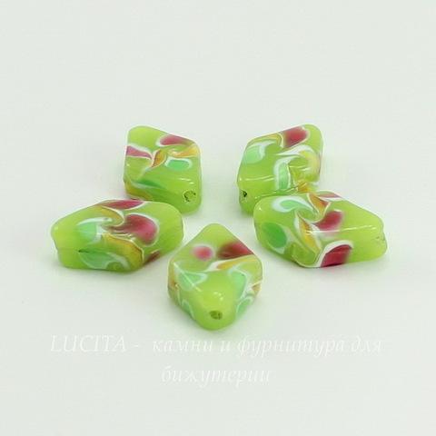 Бусина Лэмпворк ромб зеленый  19-20х13х7 мм ()