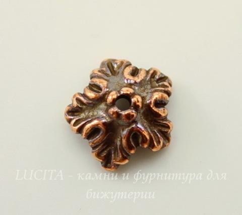 """Шапочка для бусины TierraCast """"Дубовый лист"""" (цвет-античная медь) 10х4 мм"""