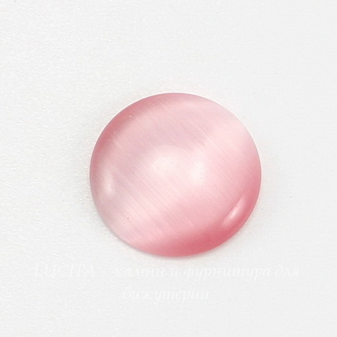 Кабошон круглый Кошачий глаз розовый, 16 мм ()