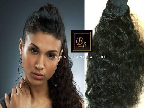 Шиньон из натуральных волос накладной оттенок #1 черный-52CM