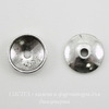 "Шапочка для бусины ""Гладкая"" (цвет - античное серебро) 10х2 мм, 10 штук"