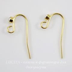 Швензы - крючки со стразом, 19 мм (цвет - золото), пара