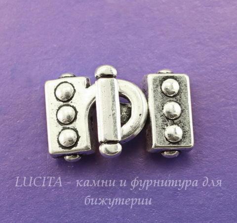 Замок - крючок из 2х частей для плоского шнура (цвет - античное серебро) 23х14 мм
