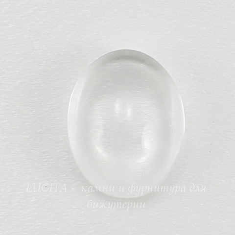 Кабошон овальный прозрачное стекло, 14х10х4 мм