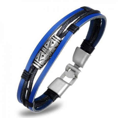 Синий мужской браслет из кожи и сплава SteelMan mn023