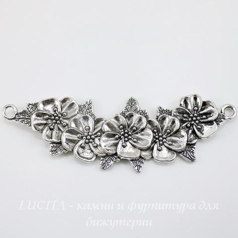 """Коннектор большой """"Цветы"""" (1-1) 112х38 мм (цвет - античное серебро)"""