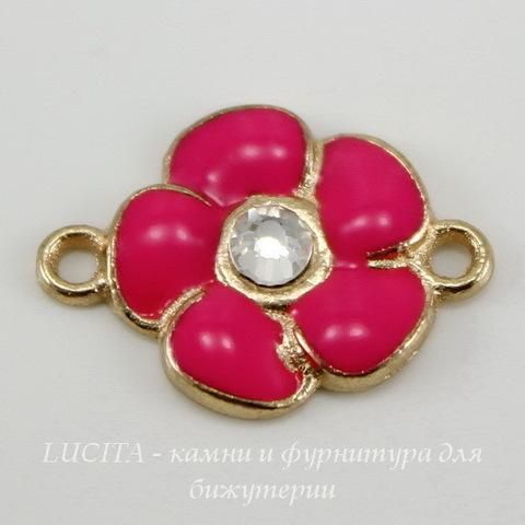 """Коннектор """"Ярко-розовый цветок"""" (1-1) с эмалью со стразом 21х15 мм (цвет - золото)"""