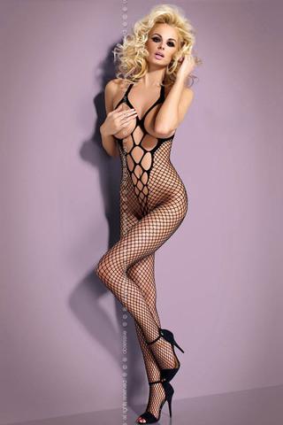 Черный европейский эротический бодикомбинезон сетка Obsessive N106 без рукавов с интимным вырезом