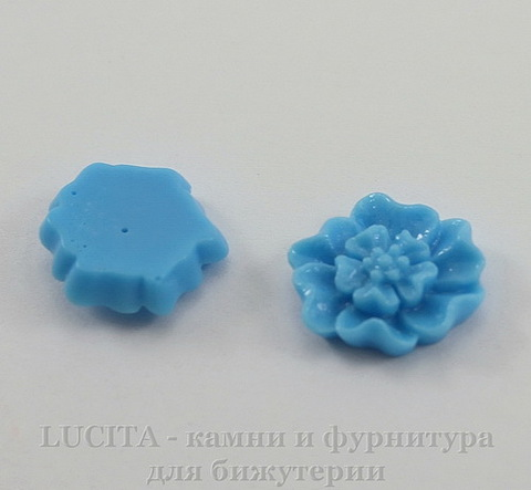 """Кабошон акриловый """"Цветок с тычинками"""", цвет - голубой, 12 мм, 5 штук"""