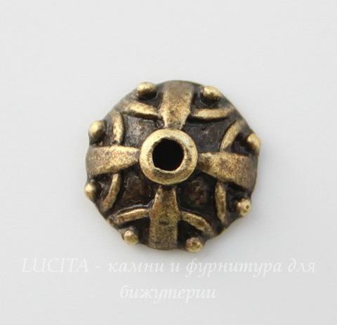 """Шапочка для бусины """"Императорская"""" (цвет - античная бронза) 10х4 мм, 10 штук"""