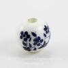 """Бусина фарфоровая шарик """"Незабудки"""", цвет - белый с синим, 10 мм"""