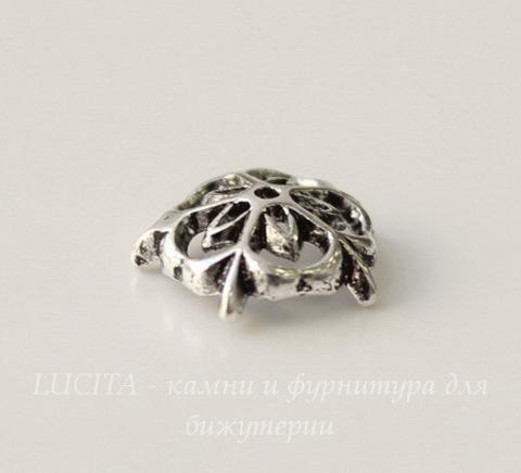 """Шапочка для бусины """"Цветочек"""" (цвет - античное серебро) 9х3 мм"""