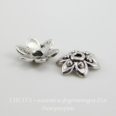 "Шапочка для бусины ""Цветок"" 9х3 мм (цвет - античное серебро), 10 штук"