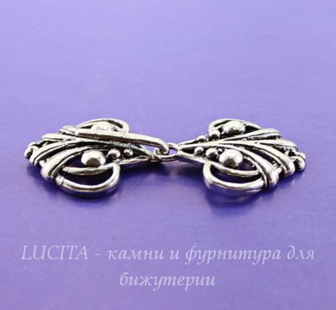 """Замок - крючок из 2х частей """"Аврора"""" (цвет - античное серебро) 45х21 мм"""