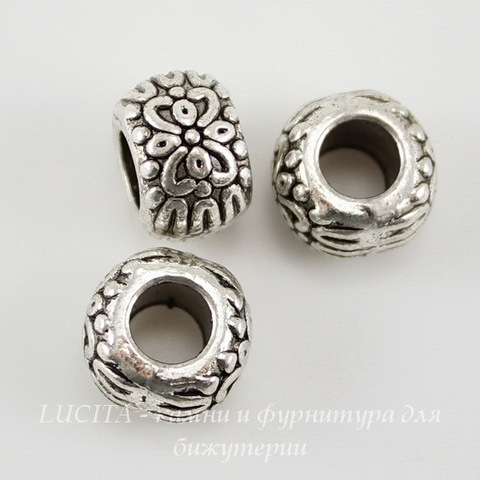 Бусина металлическая рондель с узором (цвет - античное серебро) 10х7 мм