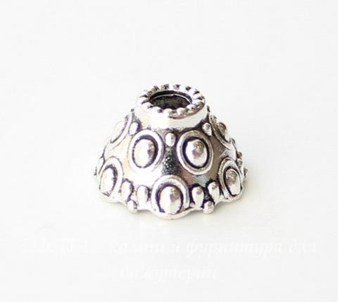 "Шапочка - конус для бусины ""Кружочки"" 12х7 мм (цвет - античное серебро), 10 штук"