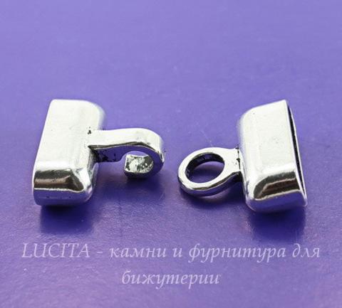 Замок - крючок для шнура 21,5х7 мм из 2х частей, 39х24 мм (цвет - античное серебро)