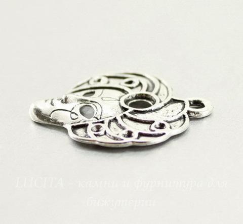"Подвеска ""Маска"" (цвет - античное серебро) 26х22 мм"
