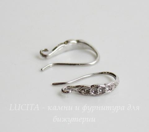 """Швензы - крючки """"Волна"""", 15 мм (цвет - платина), пара"""